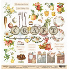 Лист бумаги для скрапбукинга CraftPaper КУХНЯ коллекция Любимые рецепты 30х30см