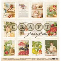 Лист бумаги для скрапбукинга CraftPaper КАРТОЧКИ коллекция Любимые рецепты 30х30см