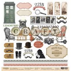 Лист бумаги для скрапбукинга CraftPaper ДЕТАЛИ коллекция Шерлок 30х30см