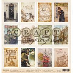 Лист бумаги для скрапбукинга CraftPaper КАРТОЧКИ коллекция Шерлок 30х30см