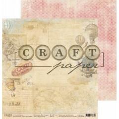 Лист бумаги для скрапбукинга CraftPaper КРУГОСВЕТКА коллекция Bon Voyage 30х30см