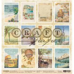 Лист бумаги для скрапбукинга CraftPaper КАРТОЧКИ коллекция Bon Voyage 30х30см