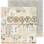 Лист бумаги для скрапбукинга CraftPaper ЗАМЕТКИ коллекция Гербарий 30х30см