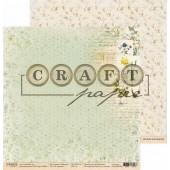 Лист бумаги для скрапбукинга CraftPaper В ГОРОШЕК коллекция Гербарий 30х30см
