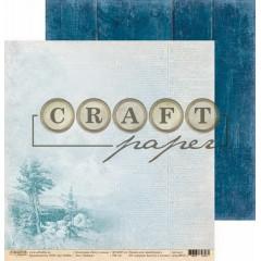 Лист бумаги для скрапбукинга CraftPaper ПЕЙЗАЖ коллекция Хочу в поход 30х30см