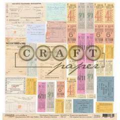Лист бумаги для скрапбукинга CraftPaper БЛАНКИ И БИЛЕТЫ коллекция Самая нужная 30х30см