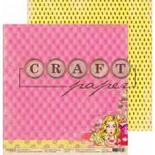 Лист бумаги для скрапбукинга CraftPaper РОЗОВЫЙ коллекция Поп-арт 30х30см
