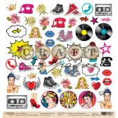 Лист бумаги для скрапбукинга CraftPaper ПОП-АРТ (обложка) коллекция Поп-арт 30х30см