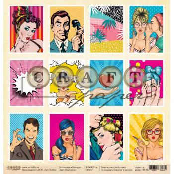 Лист бумаги для скрапбукинга CraftPaper КАРТОЧКИ коллекция Поп-арт 30х30см