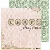 Лист бумаги для скрапбукинга CraftPaper СЧАСТЬЕ коллекция Чайная роза 30х30см