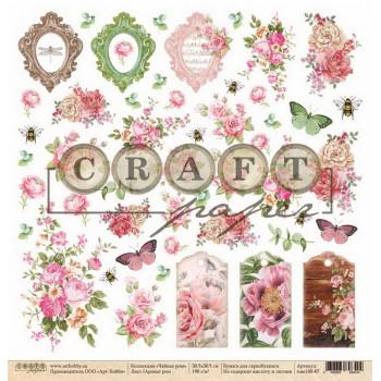 Лист бумаги для скрапбукинга CraftPaper АРОМАТ РОЗ (обложка) коллекция Чайная роза 30х30см