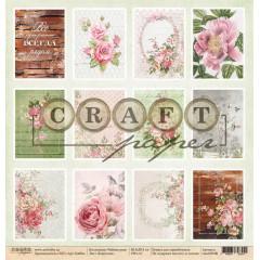 Лист бумаги для скрапбукинга CraftPaper КАРТОЧКИ коллекция Чайная роза 30х30см