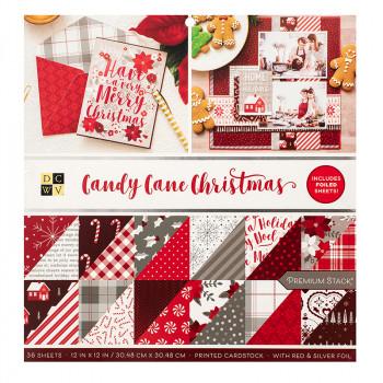 Набор бумаги для скрапбукинга DCWV CANDY CANE CHRISTMAS 30х30см