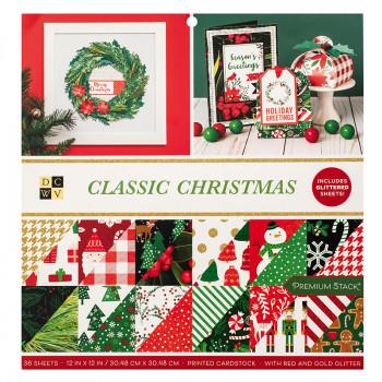 Набор бумаги для скрапбукинга DCWV CLASSIC CHRISTMAS 30х30см