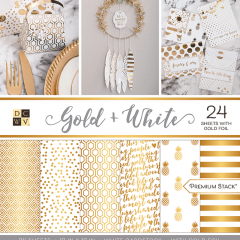Набор бумаги для скрапбукинга DCWV GOLD and WHITE 30х30см