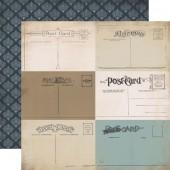 Лист бумаги для скрапбукинга Carta Bella ПОЧТОВЫЕ КАРТОЧКИ коллекция Old World Travel 30х30см