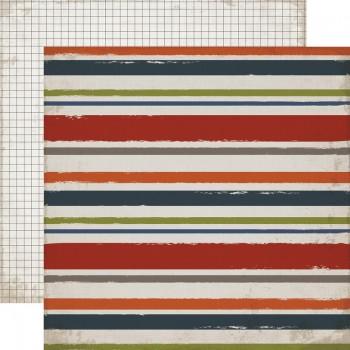 Лист бумаги для скрапбукинга Carta Bella ПОЛОСКА И КЛЕТКА коллекция Work Hard Play Hard 30х30см