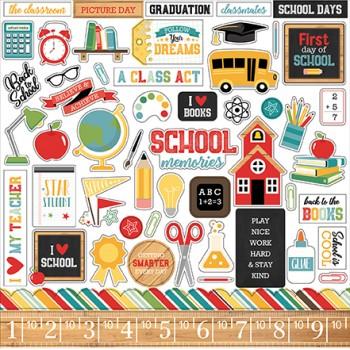 Лист наклеек Echo Park BACK TO SCHOOL 30х30см