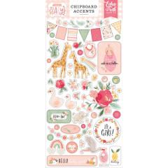Лист с наклейками из чипборда Echo Park WELCOME BABY GIRL