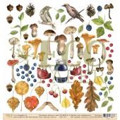 Лист бумаги для скрапбукинга EcoPaper ЛЕСНЫЕ ЖИТЕЛИ коллекция Осенний Лес 30х30см