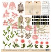 Лист бумаги для скрапбукинга EcoPaper ДЛЯ НОЖНИЦ коллекция Мемуары 30х30см