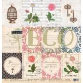 Лист бумаги для скрапбукинга EcoPaper В УНИСОН коллекция Мемуары 30х30см