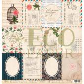 Лист бумаги для скрапбукинга EcoPaper КАРТОЧКИ коллекция Мемуары 30х30см