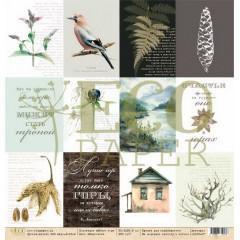 Лист бумаги для скрапбукинга EcoPaper КАРТОЧКИ коллекция Шёпот гор 30х30см