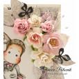 Цветы бумажные мальбери РОЗЫ РОЗОВЫЕ 1,5см 10шт