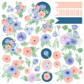 Лист бумаги для скрапбукинга Фабрика Декора FLOWER MOOD 30х30см картинки