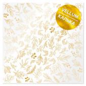 Лист кальки (веллум) с фольгированием Фабрика Декора GOLDEN BRANCHES 30х30см