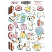 Набор наклеек (стикеров) #025 Фабрика Декора BUNNY BIRTHDAY PARTY-1