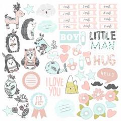 Лист бумаги для скрапбукинга Фабрика Декора SCANDI BABY BOY 30х30см картинки