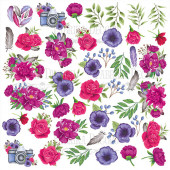 Лист бумаги для скрапбукинга Фабрика Декора MIND FLOWERS 30х30см картинки