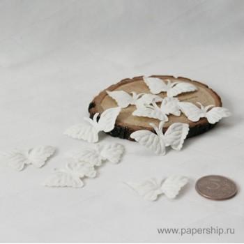 Бабочки бумажные мальбери БАБОЧКИ БЕЛЫЕ 6х4см 10шт