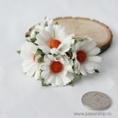 Цветы бумажные мальбери РОМАШКИ БЕЛЫЕ 4,5см 5шт