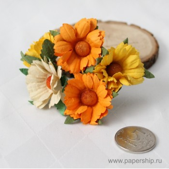 Цветы бумажные мальбери РОМАШКИ ЖЕЛТЫЕ МИКС 4,5см 5шт