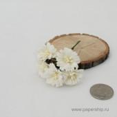 Цветы бумажные мальбери МАРГАРИТКИ БЕЛЫЕ 2,5см 5шт