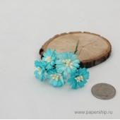Цветы бумажные мальбери МАРГАРИТКИ БЕЛО-ГОЛУБЫЕ 2,5см 5шт