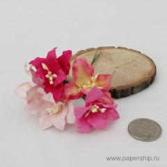Цветы бумажные мальбери ЛИЛИИ РОЗОВЫЕ МИКС 4см 5шт