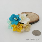 Цветы бумажные мальбери ЛИЛИИ СИНИЕ И ЖЕЛТЫЕ МИКС 4см 5шт