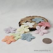 Цветы бумажные мальбери ЛЕПЕСТКИ ПАСТЕЛЬНЫЕ МИКС 4см 10шт