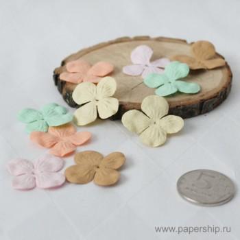 Цветы бумажные мальбери ЛЕПЕСКИ ГОРТЕНЗИИ ПАСТЕЛЬНЫЕ МИКС 2,5см 10шт