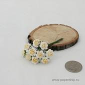 Цветы бумажные мальбери РОЗЫ БЕЛО-ЖЕЛТЫЕ 1см 10шт