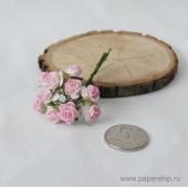 Цветы бумажные мальбери РОЗЫ БЕЛО-РОЗОВЫЕ 1см 10шт