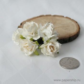 Цветы бумажные мальбери РОЗЫ КУДРЯВЫЕ БЕЛЫЕ 3см 5шт