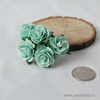 Цветы бумажные мальбери РОЗЫ МЯТНЫЕ 2,5см 5шт
