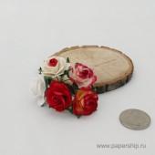 Цветы бумажные мальбери РОЗЫ КРАСНЫЕ МИКС 2,5см 5шт