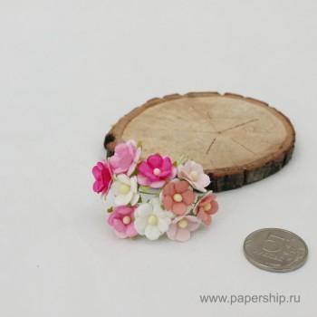 Цветы бумажные мальбери ЛЮТИКИ РОЗОВЫЕ МИКС 1,5см 10шт