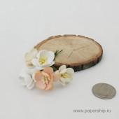 Цветы бумажные мальбери ЦВЕТЫ ВИШНИ КРЕМОВЫЕ МИКС 2,5см 5шт